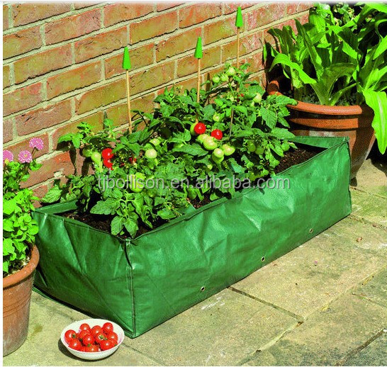 100L Dark Green Reusable Rectangle Tomato Grow Planter Bag With Wire  ,Square Patio Tomato Planting