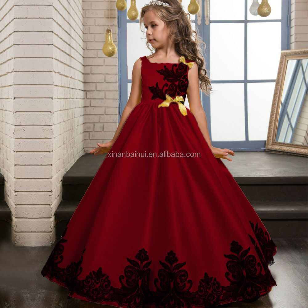 54407f7d363db Bonne qualité fille robe de mariée broderie Stéréo longue robe pour fête  d anniversaire enfant