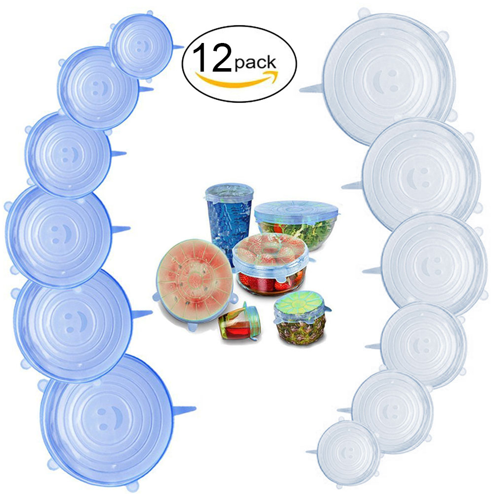 Amazon Hot Selling 12-Pack de Reutilizável Food Grade Silicone Tampas de Estiramento