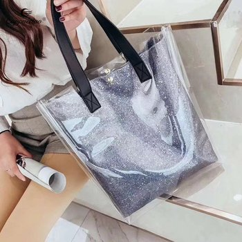 b88bbf488ae0 2018 Online Shopping Ladies Large Clear Tote Bags PVC Shoulder Bag Women  Transparent 2 in 1