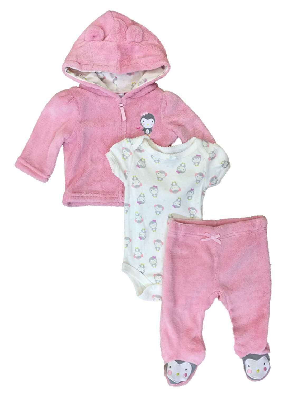 96b047345de Get Quotations · Little Wonders Infant Girls Baby Outfit Plush Pink Penguin  Hoodie Bodysuit   Pants Set