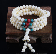6mm carved white coral 108 buddhist prayer beads bracelet
