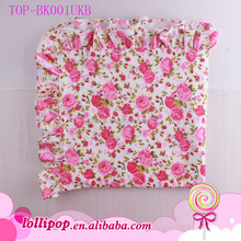 Pink Floral Printed Infant Toddler Swaddle Blankets Cotton Fleece Baby Minky Dots Blankets With Ruffle Trim