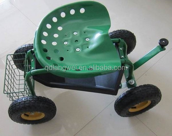 Rolling Work Seat With Tool Tray For Gardening Landscape Scooter
