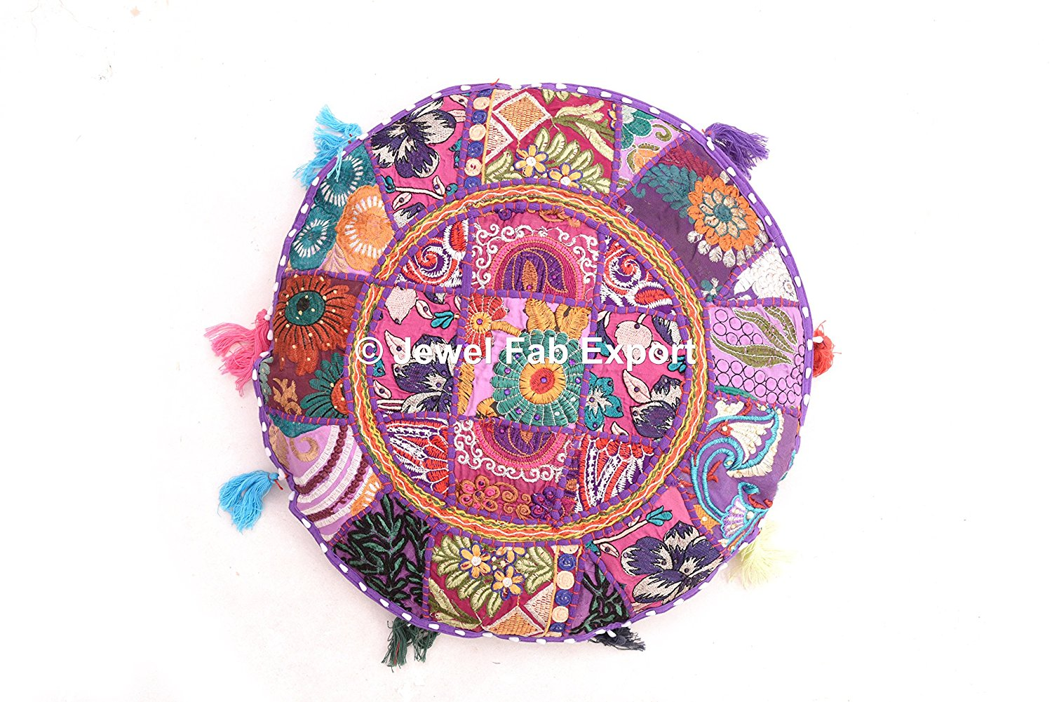 """Indian Vintage 18''x18"""" Ottoman Gypsy Pouf Home Decor Vintage Marvelous Banjara Multi color Ethnic Handmade Floor Cushions Bohemian Assorted Patchwork Embroidered Round Euro Sham POUF COVER ONLY"""
