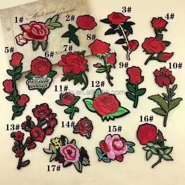 custom iron on flower embroidery patches for clothing/women dresses