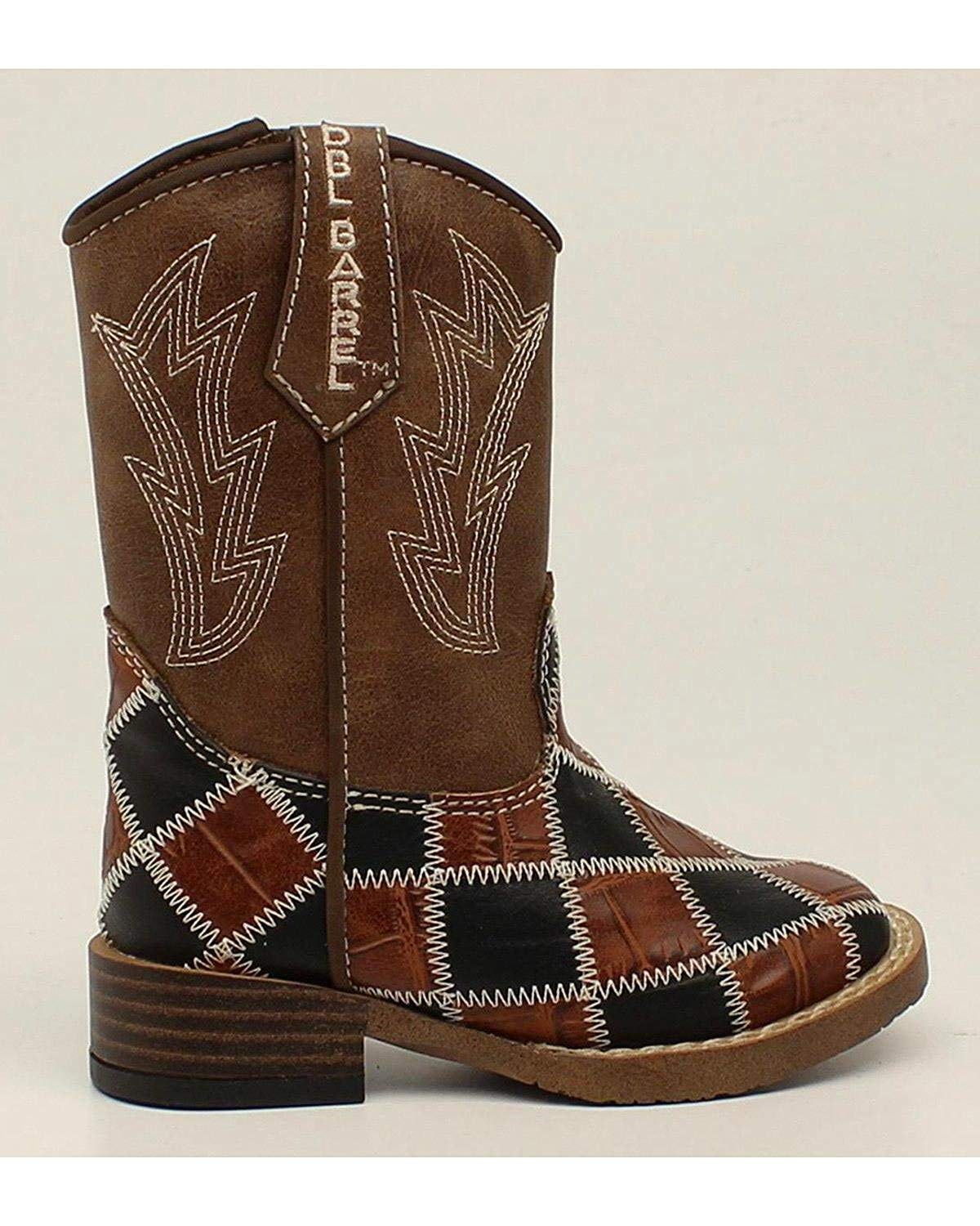 Double Barrel Toddler-Boys' Andy Cowboy Boot Square Toe Brown 4 US