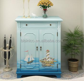 Mediterranean Style Shoe Cabinet,Sailing Boat Handpainting Shoe Rack,Living  Room Solid Wood Shoe Cabinet (bf01 X1147)   Buy Solid Wood Shoe ...