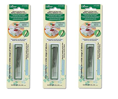 Bulk Buy: Clover Felting Needle Tool Refill Fine Weight 5/Pkg 8905 (3-Pack)