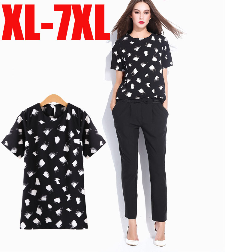 Plus Size Hot New Arrivals L-6XL Woman Black Dot Print Chiffon Summer Fashion Tops T-Shirts women's clothing Large Yard