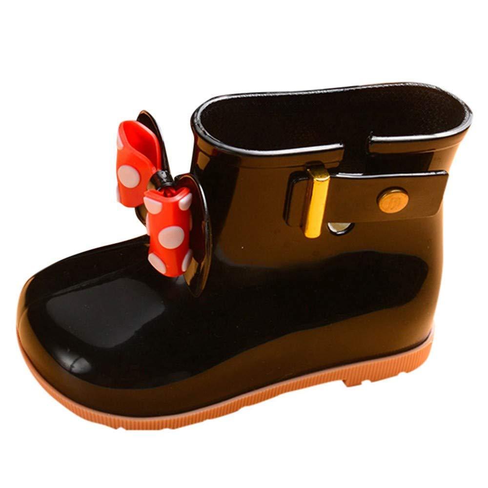 Outsta Infant Kids Bowknot Dot Rubber Waterproof Rain Shoes, Baby Girls Student Boots Rain Shoes