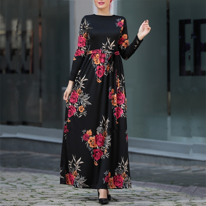 newest Muslim Jersey Dress for Women with printing