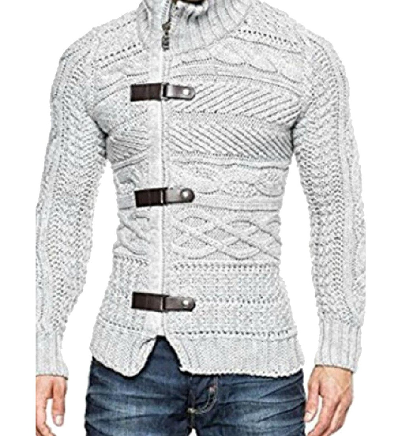 Coolred-Men Fashion Wild Solid Hi-Neck Plus Size Cardigan Sweater Tops