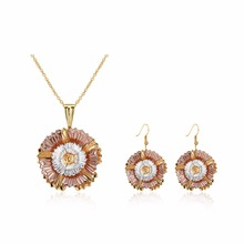 SJKZCS138 Eco-friendly Brass Good Quality Colorful Gold Plated Sunflower Necklace Earrings Fashion Delicate Jewelry Set for Girl