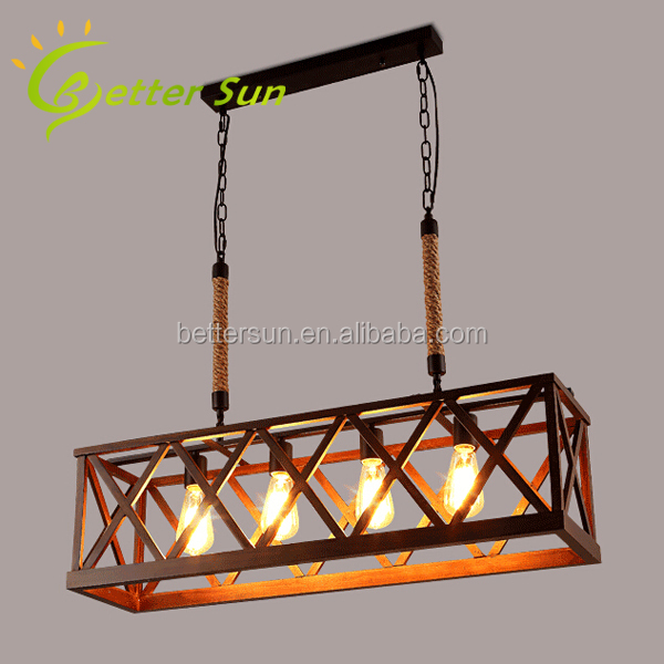New Design Rectangle Wood Pendant Light/Bamboo Edison Pendant Light