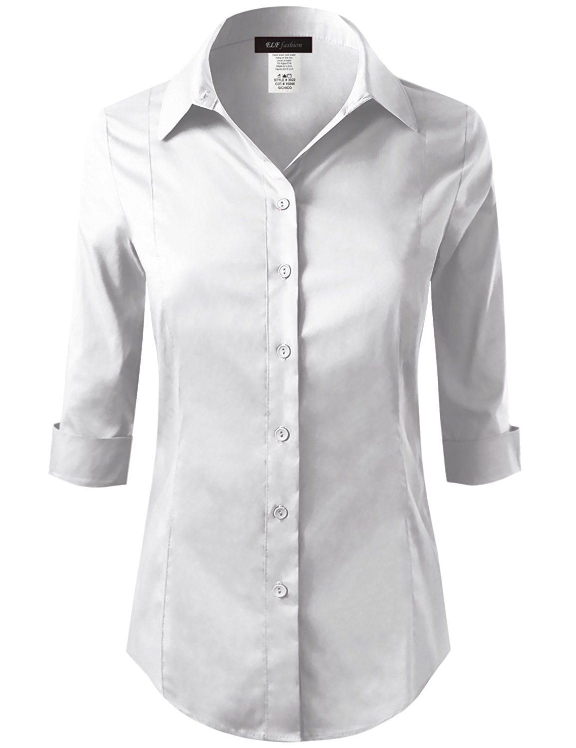 db90b0dd Buy LE3NO Womens Plus Size Roll Up 3/4 Sleeve Button Down Shirt with ...