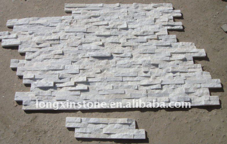 White Quartzite Culture Stone Ledger Wall Tiles With Interlocking ...