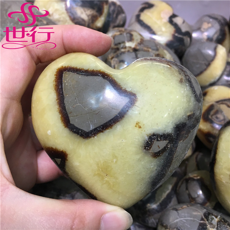 Natural quartz polished septarium stone heart crystal healing for gift