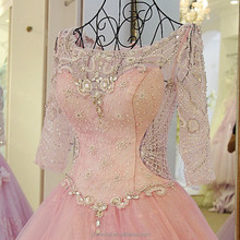 High quality Blush Pink Long sleeve Wedding Dresses 2017 Boat Neck vestido de festa