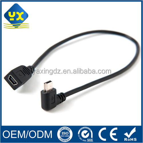 Down-up 90 Degree Angle Mini USB B Type 5 Pin Male to Female Extension Cable
