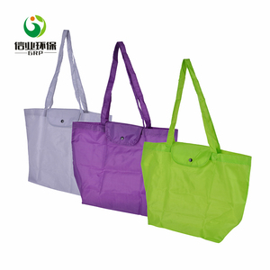 Various color design wholesale recycling handled polyester foldable shopping bag