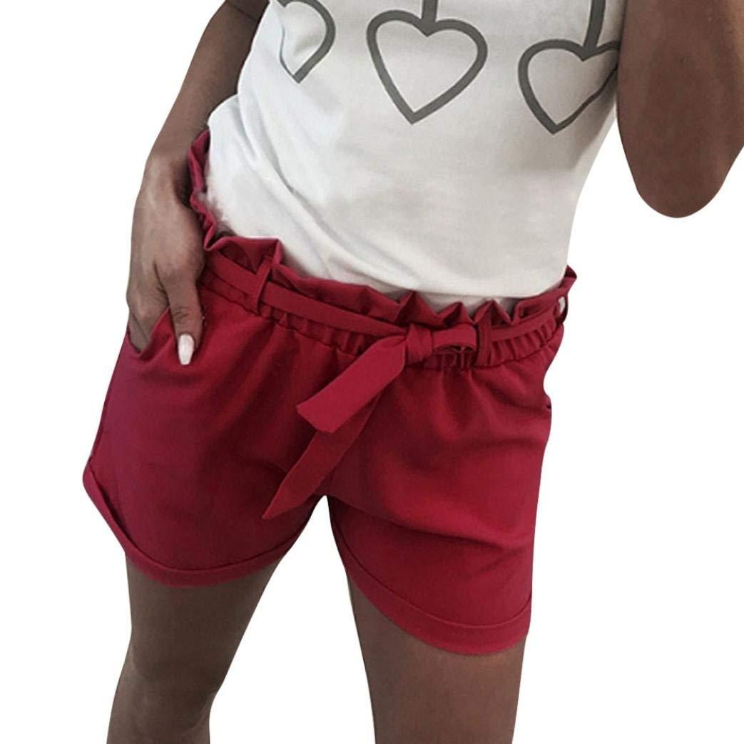 c74c3a47de Get Quotations · Women Summer Beach Shorts Casual Drawstring Ruffled Waist  Jersey Walking Shorts Hot Short Pants