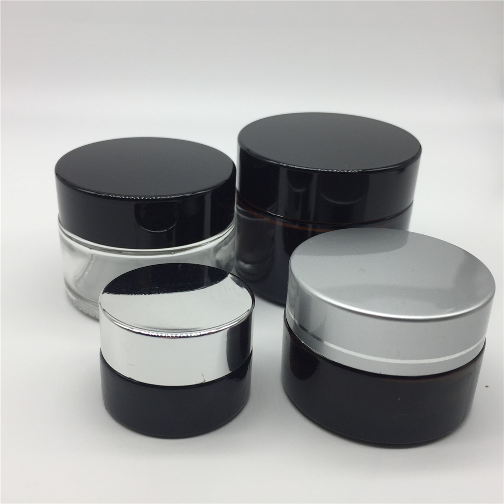 50ml Amber Glass Cosmetic Jars with Aluminum Gold Lid Eye Cream Glass Jars