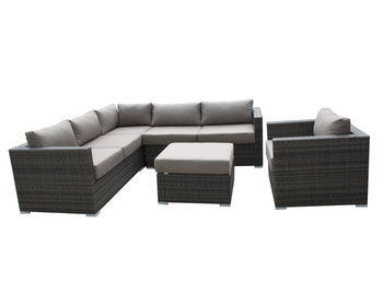 Cheap Discount Rattan Sectional Sofa Set Plastic Black Resin White