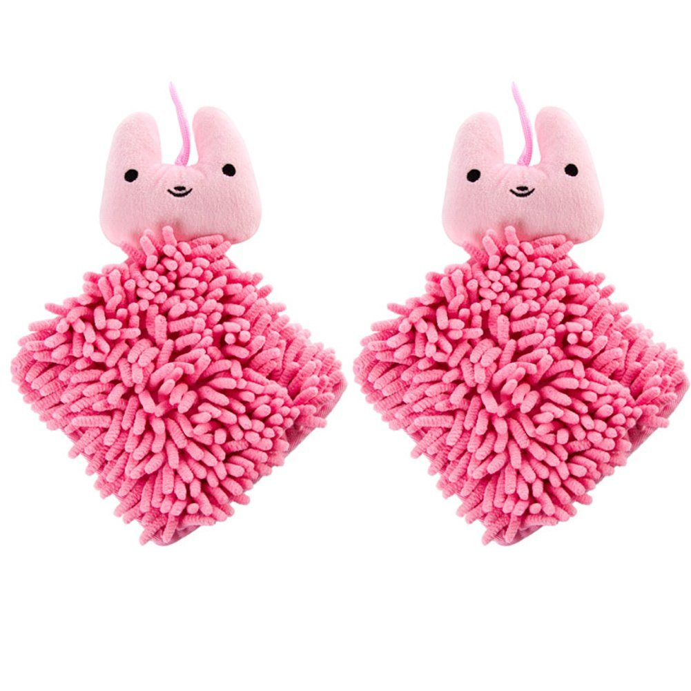 Ozzptuu Set of 2 Cartoon Hanging Hand Towels Duster Cloth for Kids, Super Absorbent Fast Dry, Multipurpose for Bathroom & Kitchen (Pink)