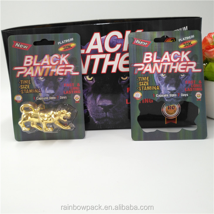 Newest 3D printed male enhancement pill plastic fold card black panther packaging