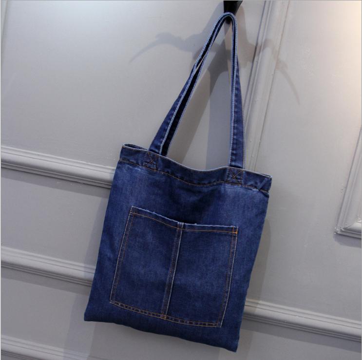49562f0ae Azul denim lavado calça jeans bolsa saco de praia mulheres sacola  promocional