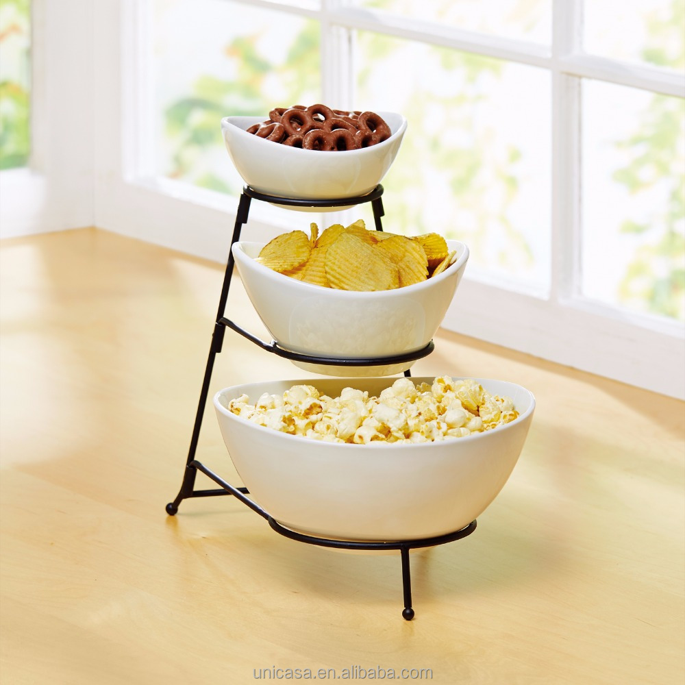 3 Tiered Oval Chip and Dip Bowl Set with Metal Rack, Three Tier Dessert and Snack Server