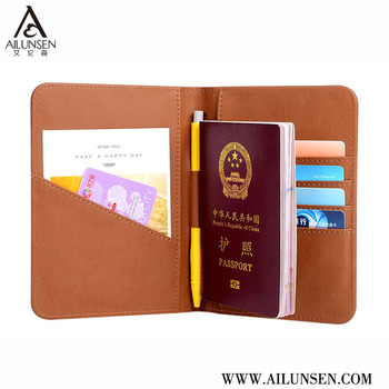 Leather Passport Wallet With Custom Embossing Logo