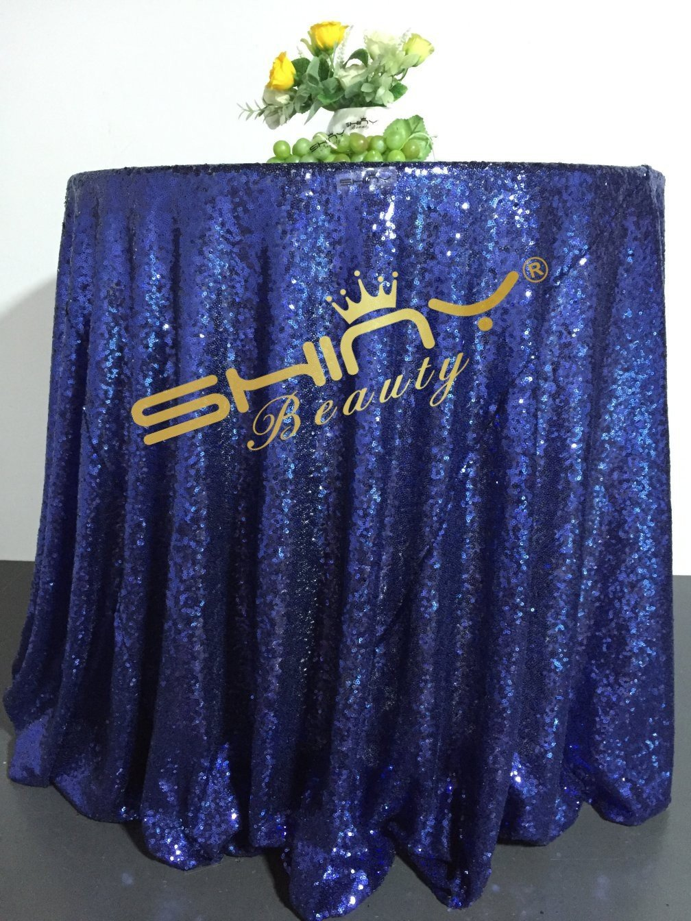 ShinyBeauty Glitter Navy 90Inch Round Sequin Tablecloth, Sequin Table Cloth, Sequin Table Overlay,Sequin Table Cover, Sequin Table Linen for Wedding Party Event