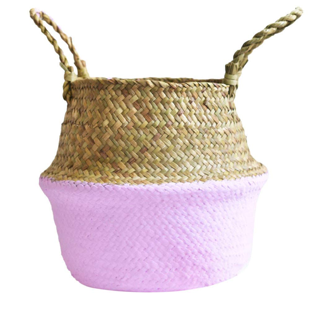 Seagrass Wicker Basket Wicker Flower Pot Folding Dirty Seaweed Woven Flowerpot Foldable Flower Basket (Purple)