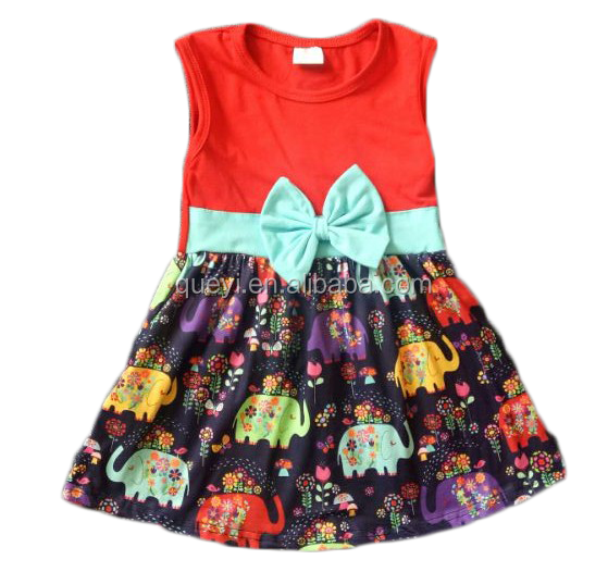 Girls elephant printing sleeveless dresses party pageant short skirt unique knot design new kids dress