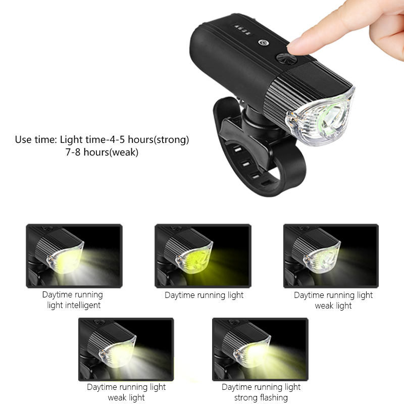 Bike Head Light with Rechargeable 4000 mAh Battery 5 Lighting Modes Bicycle Light