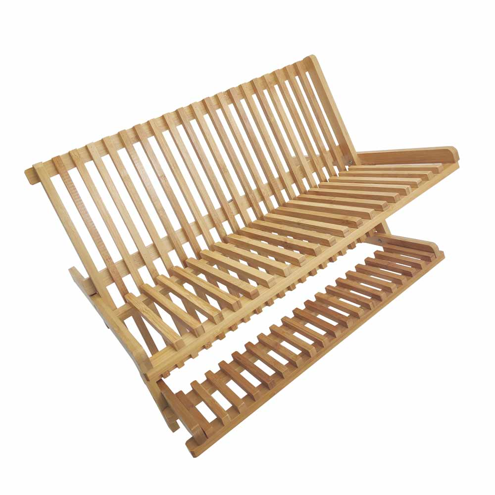 High Quality Kitchen Bamboo X Shaped Folding Dish Rack 7