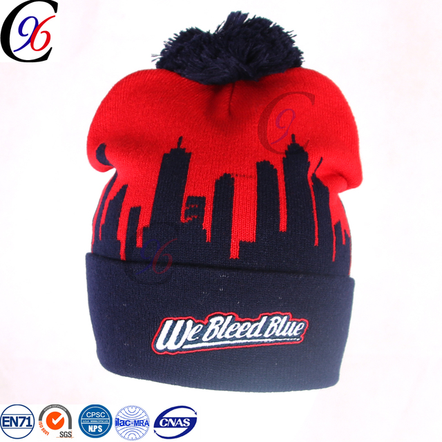 8a586915a97 Chengxing cap beanie hats wholesale woven label soccer football team fan  design knitted pom beanie snow