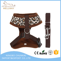 Canvas Mesh Leopard Print Dog Cat Pet Vest Harness and Matching Nylon Leash Set for Small Dogs Cats