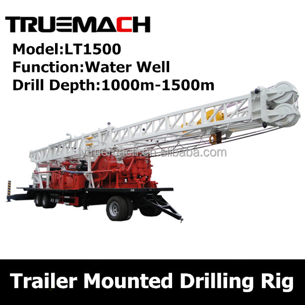 1000-1500m trailer mounted drilling rig for water well