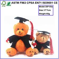 Sitting plush Graduation Teddy Bear with Cap and Gown stuffed graduated animal