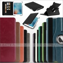 High quality Crazy Horse PU Leather Flip Stand Rotation Case With Card Slot Cover for Apple iPad5, for ipad air leather case