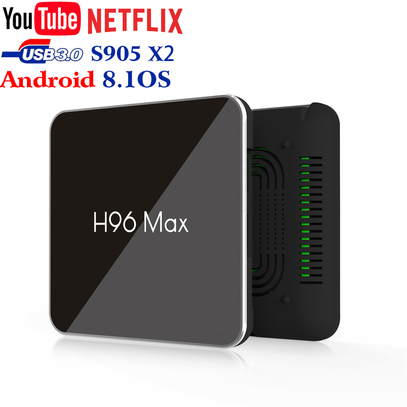La più recente tecnologia Smart H96 Max S905X2 ddr4 4 gb 64 gb hd 4 k HDR + android 8.1 tv box USB3.0 100LAN