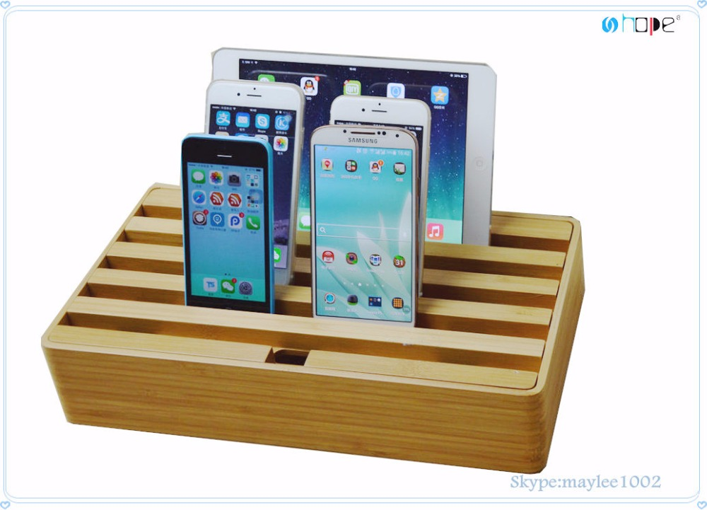 Universal desktop bamboo cell mobile phone charging station 6 Ports Multifunction USB 2.0 Hub Charging Station Phone stand