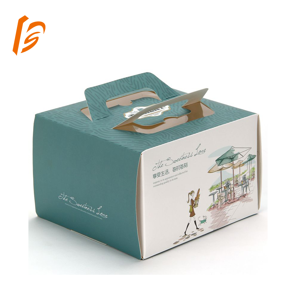 12 inch Birthday Cake Box With Handle Paper Packaging Box For Cake