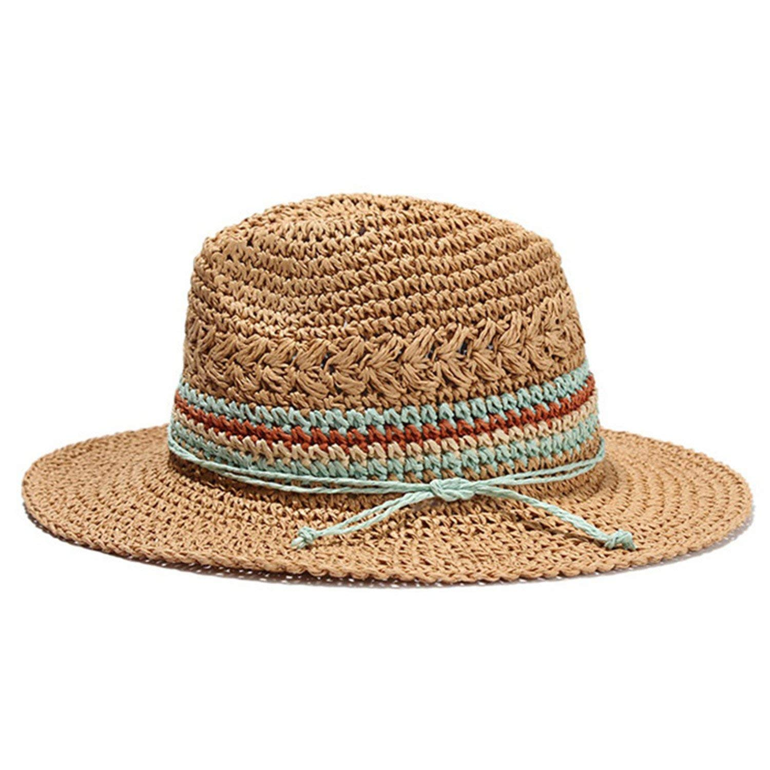 e13e352b51fd6 Get Quotations · Leo Lamb Handmade Knitted Patchwork Straw Hat for Women  Summer Hats Elegant Ladies Wide Brim Floppy