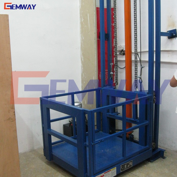 Factory sale hydraulic goods mezzanine lift/guide rail cargo lift