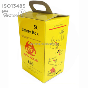 Dailymag 5L Cardboard Yellow Biohazard Medical Sharps Container For Used Syringes