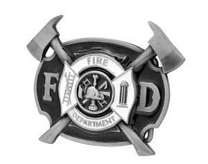 Black Enamel Fire Department Belt Buckle Emergency Rescue Fdny